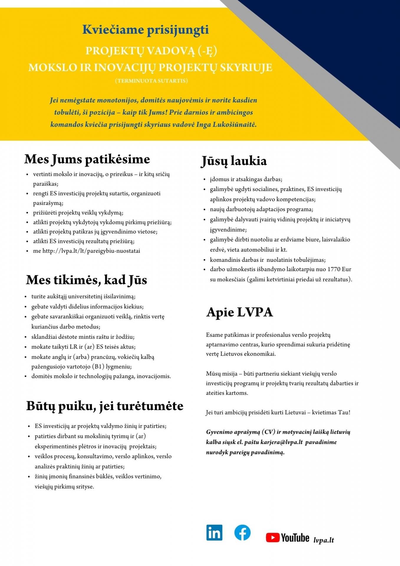 MIPS PROJEKTŲ VADOVAS (-Ė)
